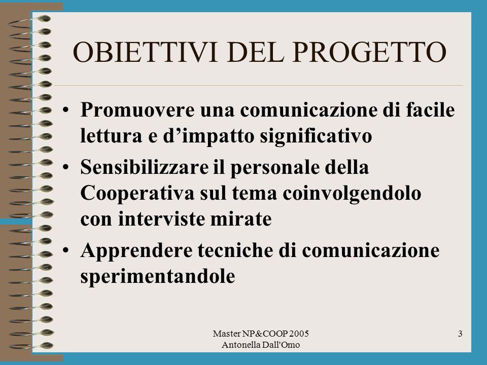 Master NP&COOP 2005 Antonella Dall'Omo 3 OBIETTIVI DEL PROGETTO Promuovere una comunicazione di facile lettura e d'impatto significativo Sensibilizzar
