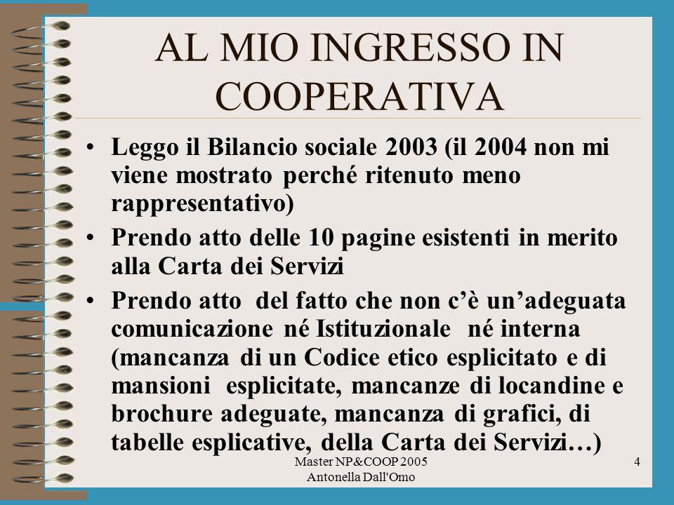 Master NP&COOP 2005 Antonella Dall'Omo 4 AL MIO INGRESSO IN COOPERATIVA Leggo il Bilancio sociale 2003 (il 2004 non mi viene mostrato perché ritenuto