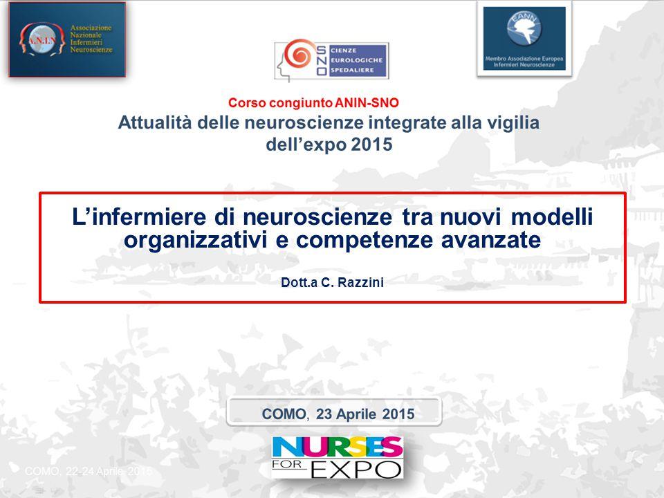 L L'infermiere di neuroscienze tra nuovi modelli organizzativi e competenze avanzate Dott.a C. Razzini