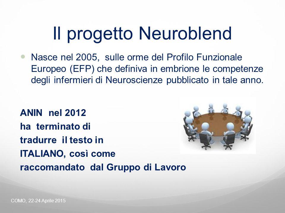 Il progetto Neuroblend Nasce nel 2005, sulle orme del Profilo Funzionale Europeo (EFP) che definiva in embrione le competenze degli infermieri di Neur