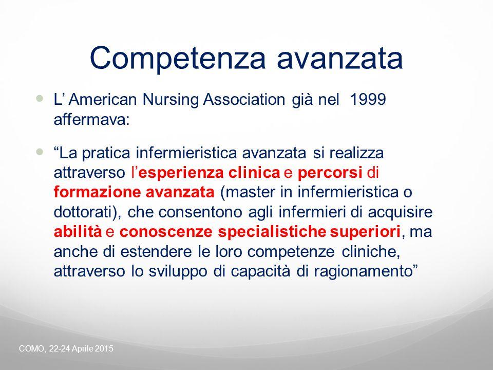 """Competenza avanzata L' American Nursing Association già nel 1999 affermava: """"La pratica infermieristica avanzata si realizza attraverso l'esperienza c"""