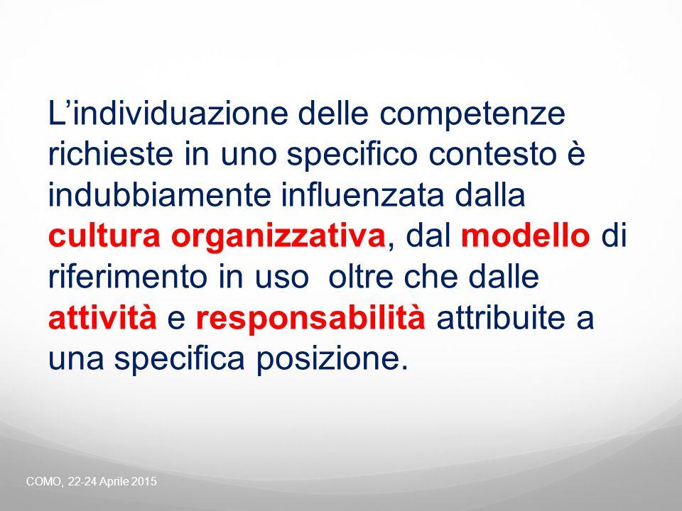 L'individuazione delle competenze richieste in uno specifico contesto è indubbiamente influenzata dalla cultura organizzativa, dal modello di riferime