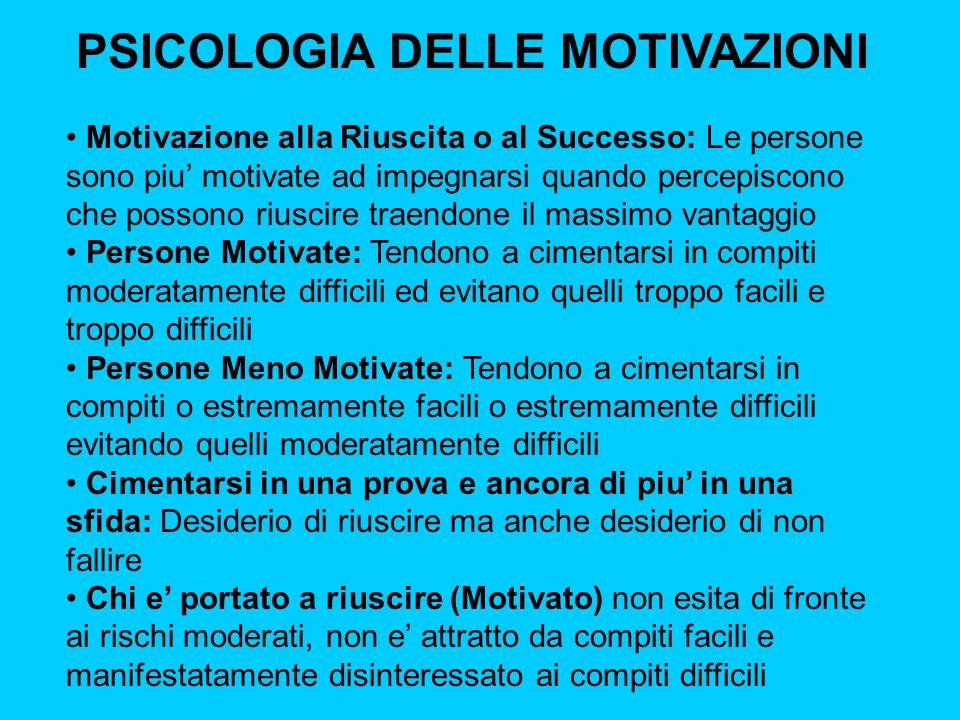 PSICOLOGIA DELLE MOTIVAZIONI Motivazione alla Riuscita o al Successo: Le persone sono piu' motivate ad impegnarsi quando percepiscono che possono rius