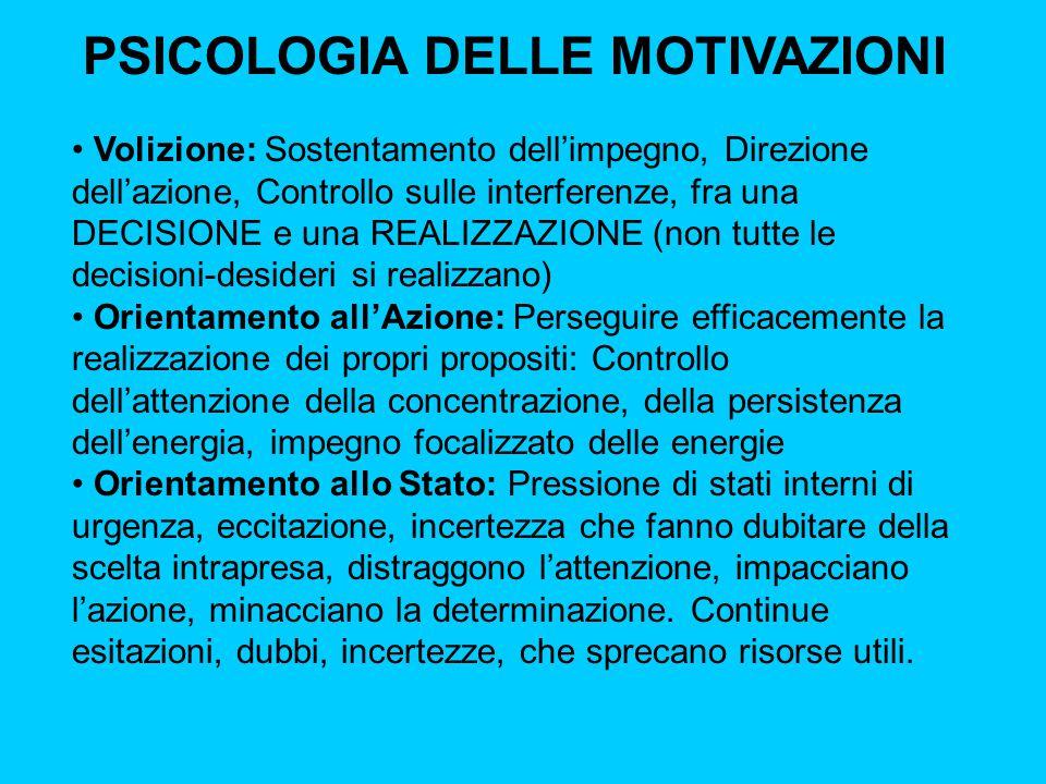 PSICOLOGIA DELLE MOTIVAZIONI Volizione: Sostentamento dell'impegno, Direzione dell'azione, Controllo sulle interferenze, fra una DECISIONE e una REALI
