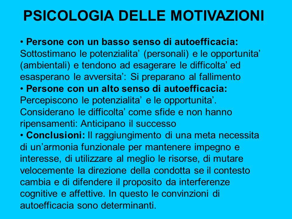 PSICOLOGIA DELLE MOTIVAZIONI Persone con un basso senso di autoefficacia: Sottostimano le potenzialita' (personali) e le opportunita' (ambientali) e t