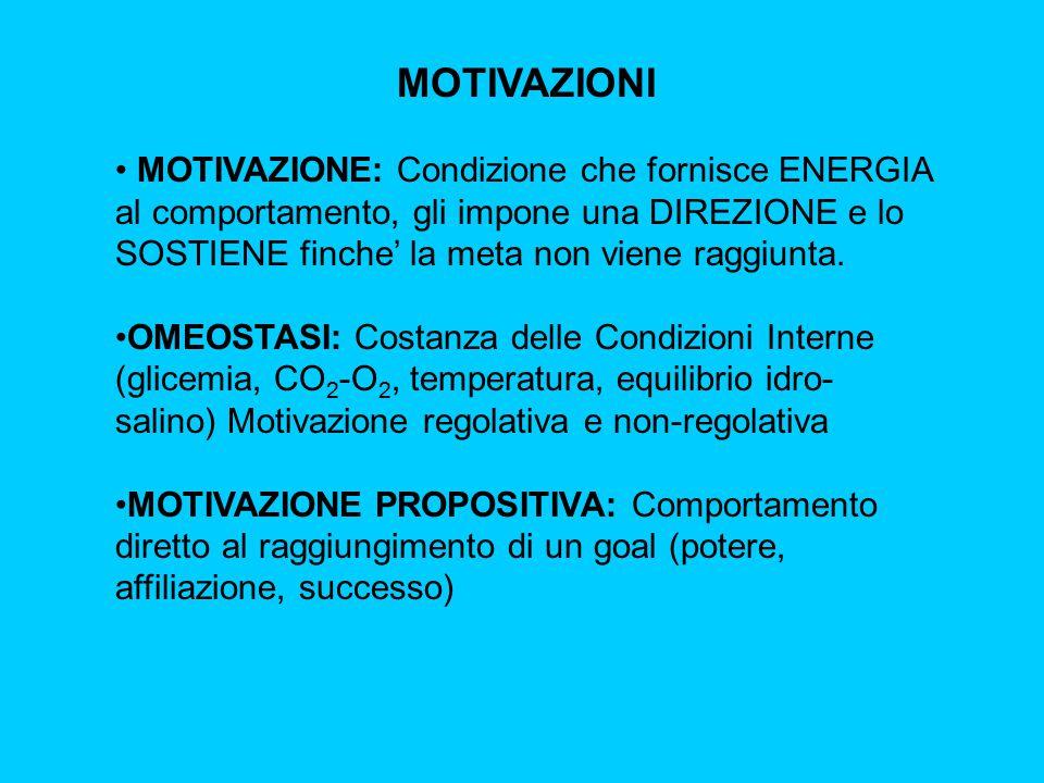 MOTIVAZIONI MOTIVAZIONE: Condizione che fornisce ENERGIA al comportamento, gli impone una DIREZIONE e lo SOSTIENE finche' la meta non viene raggiunta.