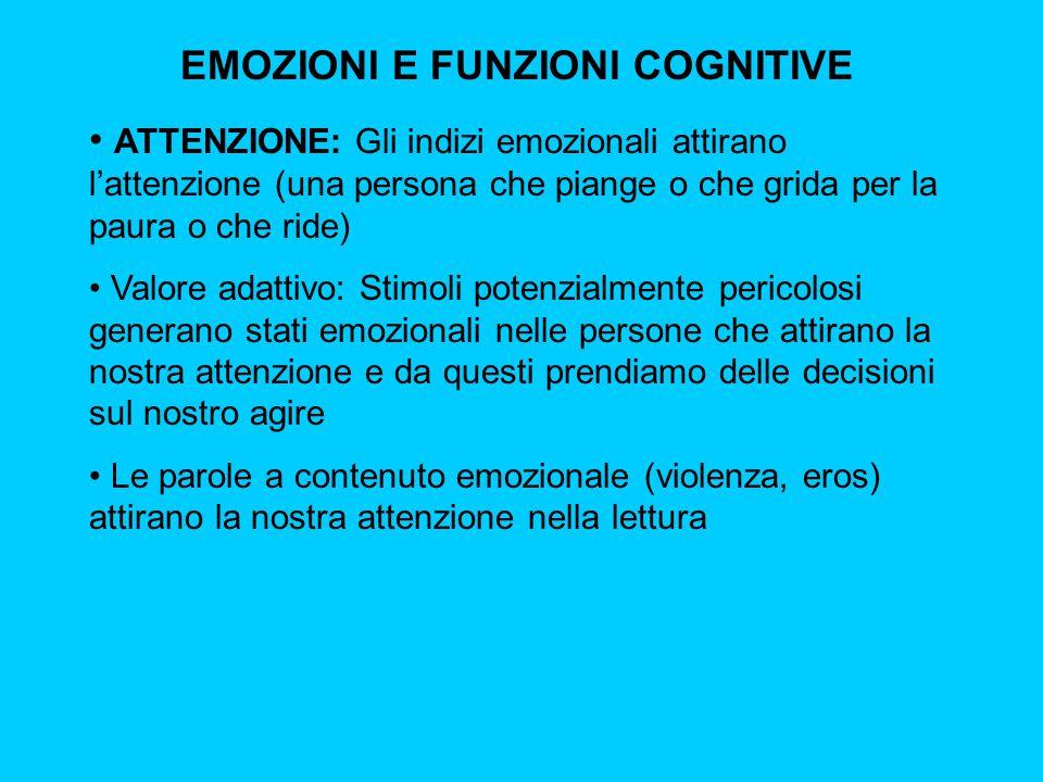 EMOZIONI E FUNZIONI COGNITIVE ATTENZIONE: Gli indizi emozionali attirano l'attenzione (una persona che piange o che grida per la paura o che ride) Val