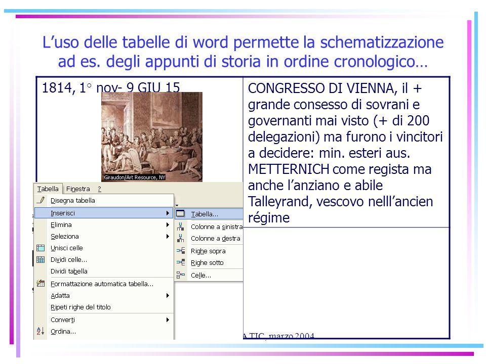 Stulfa.it mod. 11/A TIC, marzo 2004 L'uso delle tabelle di word permette la schematizzazione ad es.