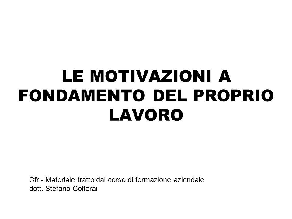LE MOTIVAZIONI A FONDAMENTO DEL PROPRIO LAVORO Cfr - Materiale tratto dal corso di formazione aziendale dott.
