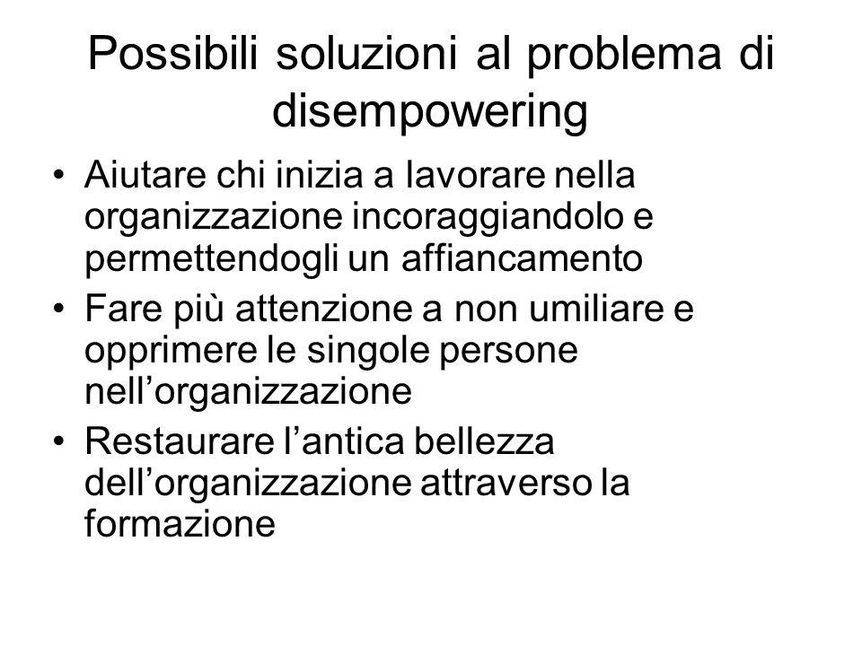 Possibili soluzioni al problema di disempowering Aiutare chi inizia a lavorare nella organizzazione incoraggiandolo e permettendogli un affiancamento Fare più attenzione a non umiliare e opprimere le singole persone nell'organizzazione Restaurare l'antica bellezza dell'organizzazione attraverso la formazione