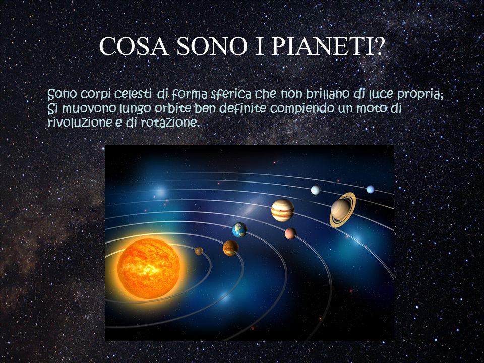COSA SONO I PIANETI? Sono corpi celesti di forma sferica che non brillano di luce propria; Si muovono lungo orbite ben definite compiendo un moto di r