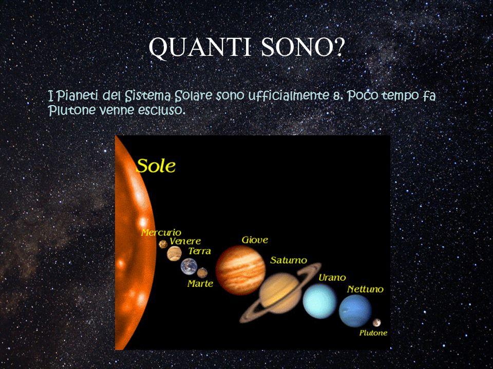 QUANTI SONO? I Pianeti del Sistema Solare sono ufficialmente 8. Poco tempo fa Plutone venne escluso.