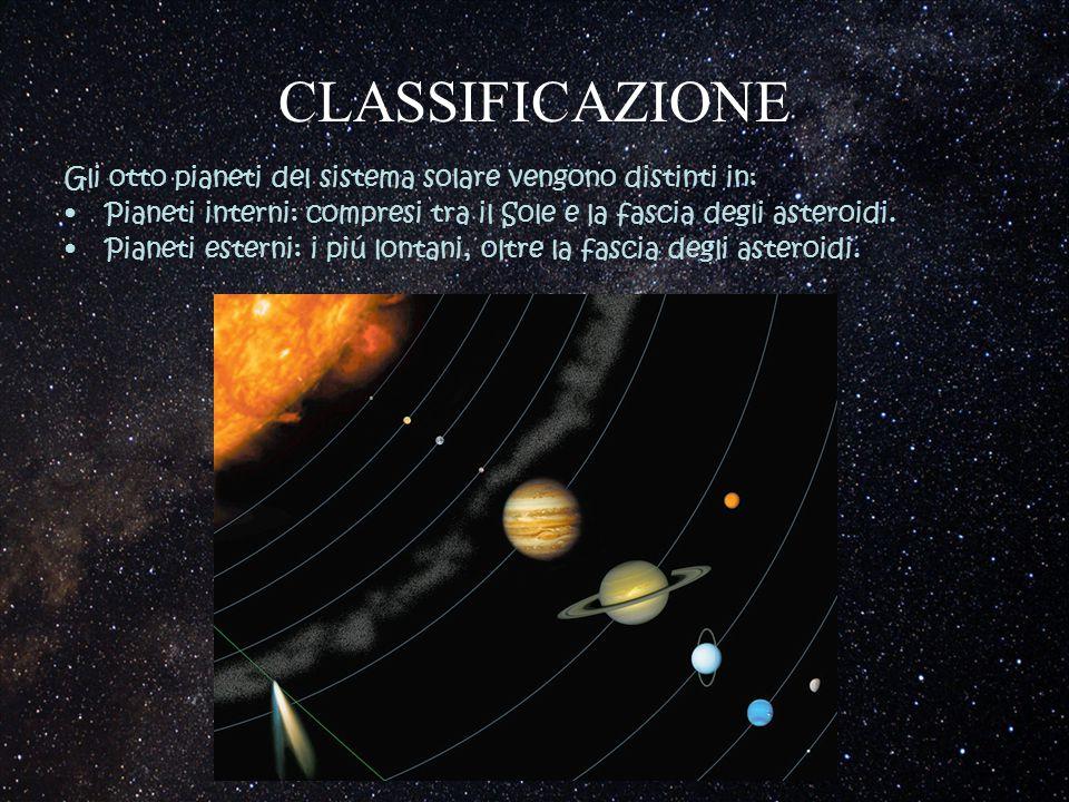 CLASSIFICAZIONE Gli otto pianeti del sistema solare vengono distinti in: Pianeti interni: compresi tra il Sole e la fascia degli asteroidi. Pianeti es