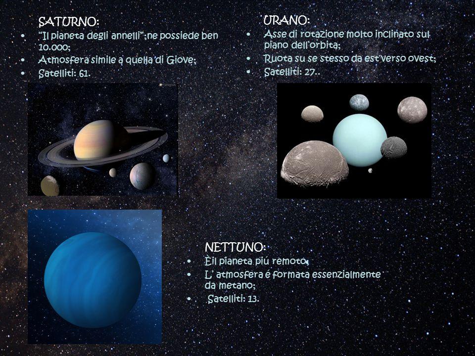 """SATURNO: """"Il pianeta degli annelli"""";ne possiede ben 10.000; Atmosfera simile a quella di Giove; Satelliti: 61. URANO: Asse di rotazione molto inclinat"""