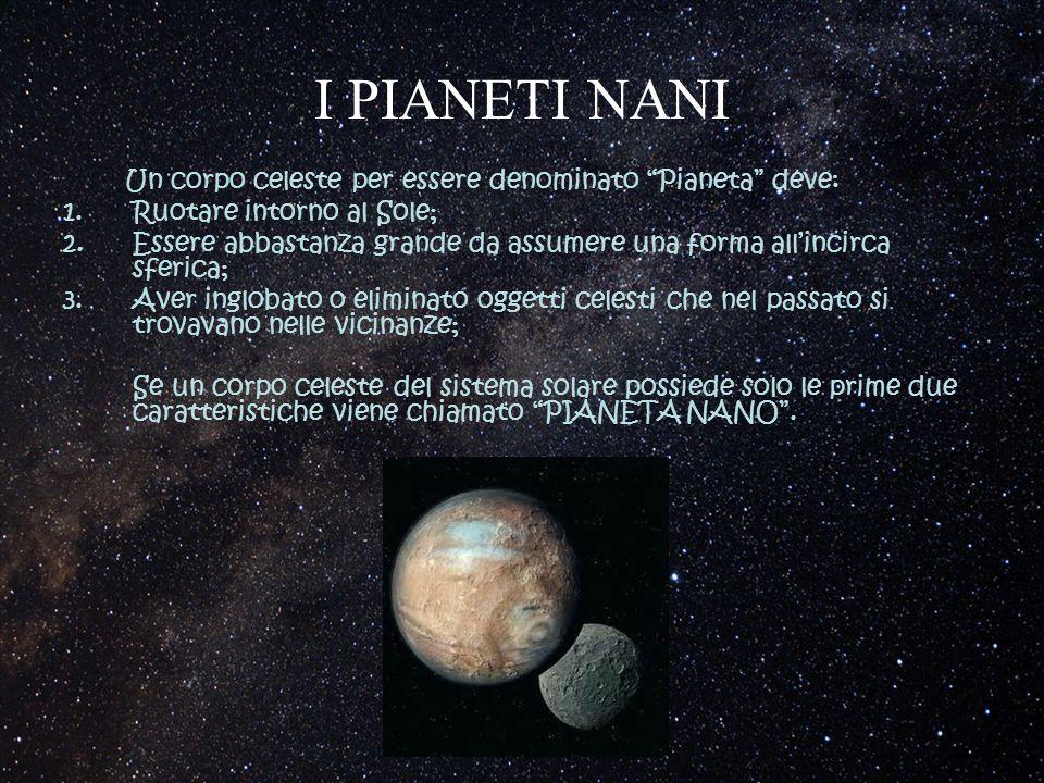 """I PIANETI NANI Un corpo celeste per essere denominato """"Pianeta"""" deve: 1.Ruotare intorno al Sole; 2.Essere abbastanza grande da assumere una forma all'"""