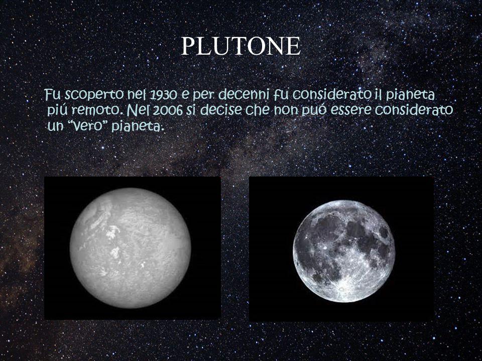 """PLUTONE Fu scoperto nel 1930 e per decenni fu considerato il pianeta piú remoto. Nel 2006 si decise che non puó essere considerato un """"vero"""" pianeta."""