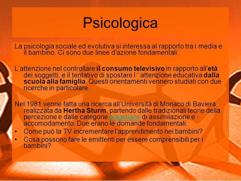 Psicologica La psicologia sociale ed evolutiva si interessa al rapporto tra i media e il bambino.