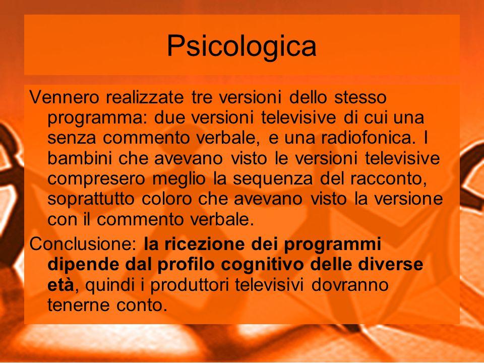 Psicologica Vennero realizzate tre versioni dello stesso programma: due versioni televisive di cui una senza commento verbale, e una radiofonica.