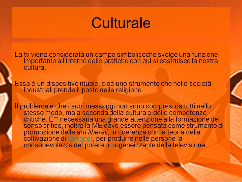 Culturale La tv viene considerata un campo simbolicoche svolge una funzione importante all'interno delle pratiche con cui si costruisce la nostra cultura.