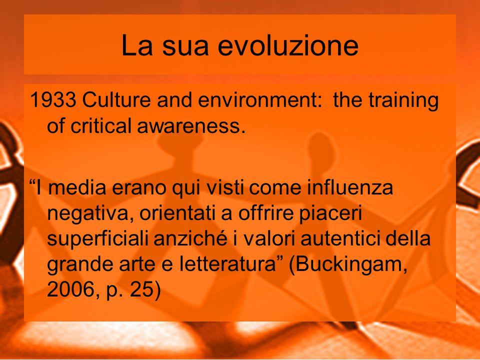 La sua evoluzione 1933 Culture and environment: the training of critical awareness.