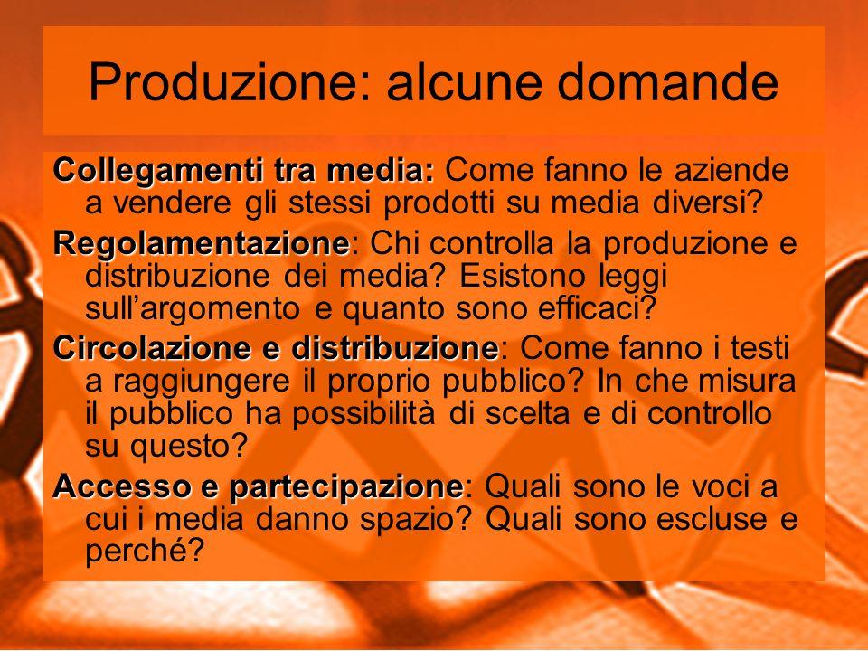 Produzione: alcune domande Collegamenti tra media: Collegamenti tra media: Come fanno le aziende a vendere gli stessi prodotti su media diversi.