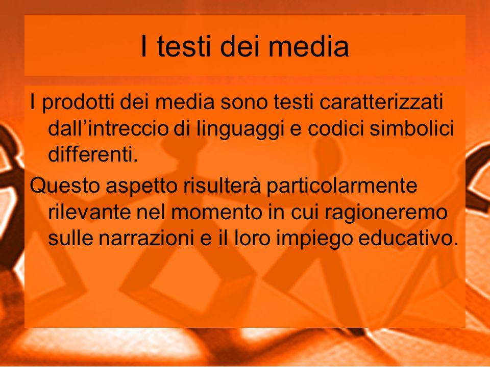 I testi dei media I prodotti dei media sono testi caratterizzati dall'intreccio di linguaggi e codici simbolici differenti.