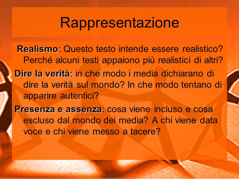 Rappresentazione Realismo Realismo: Questo testo intende essere realistico.