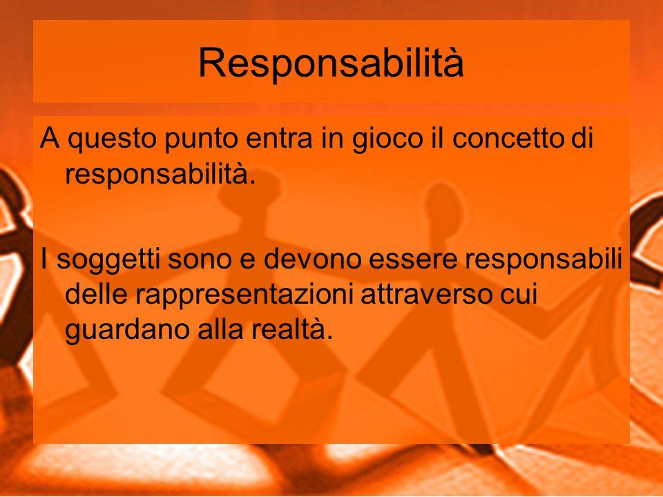 Responsabilità A questo punto entra in gioco il concetto di responsabilità.