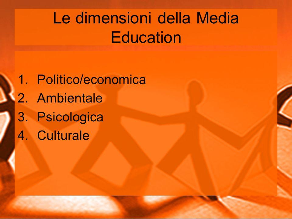 Le dimensioni della Media Education 1.Politico/economica 2.Ambientale 3.Psicologica 4.Culturale