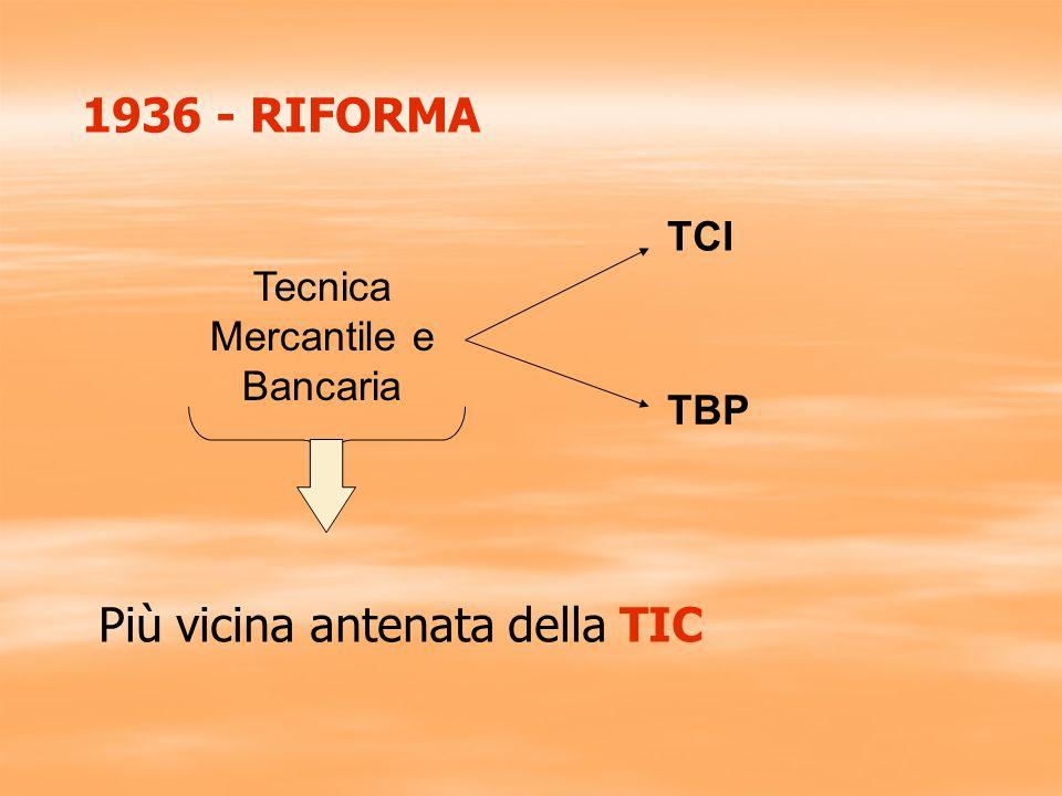 1936 - RIFORMA Tecnica Mercantile e Bancaria TCI TBP Più vicina antenata della TIC