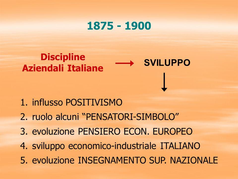 2 percorsi distinti Primi Tentativi di Sistemazione Scientifica Processo evolutivo discipline aziendali italiane: 1) RAGIONERIA 1880 – 1900 Cerboni, Besta 2) TECNICA 1920: Garrone