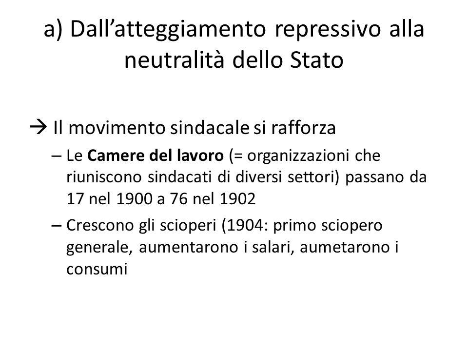 a) Dall'atteggiamento repressivo alla neutralità dello Stato  Il movimento sindacale si rafforza – Le Camere del lavoro (= organizzazioni che riunisc