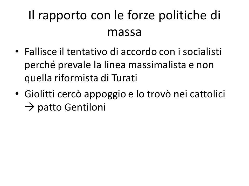 Il rapporto con le forze politiche di massa Fallisce il tentativo di accordo con i socialisti perché prevale la linea massimalista e non quella riform