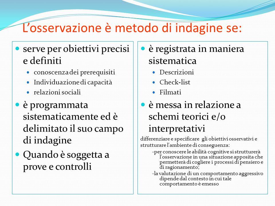 L'osservazione è metodo di indagine se: serve per obiettivi precisi e definiti conoscenza dei prerequisiti Individuazione di capacità relazioni social