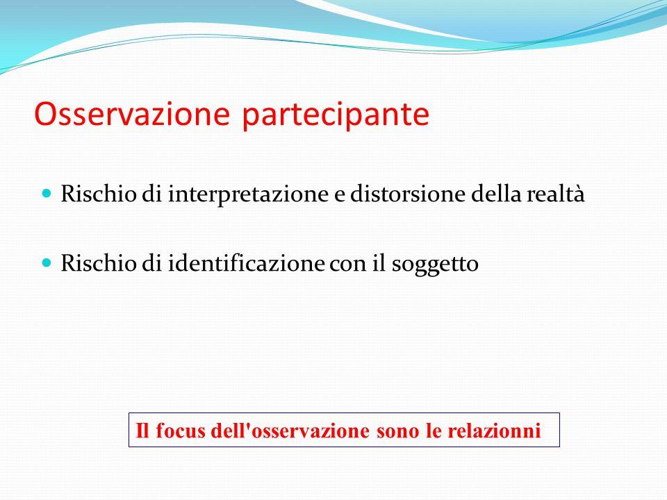 Osservazione partecipante Rischio di interpretazione e distorsione della realtà Rischio di identificazione con il soggetto Il focus dell'osservazione