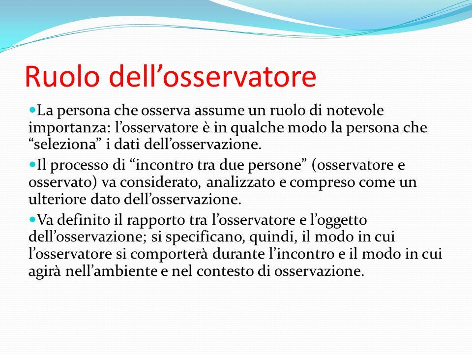 """Ruolo dell'osservatore La persona che osserva assume un ruolo di notevole importanza: l'osservatore è in qualche modo la persona che """"seleziona"""" i dat"""
