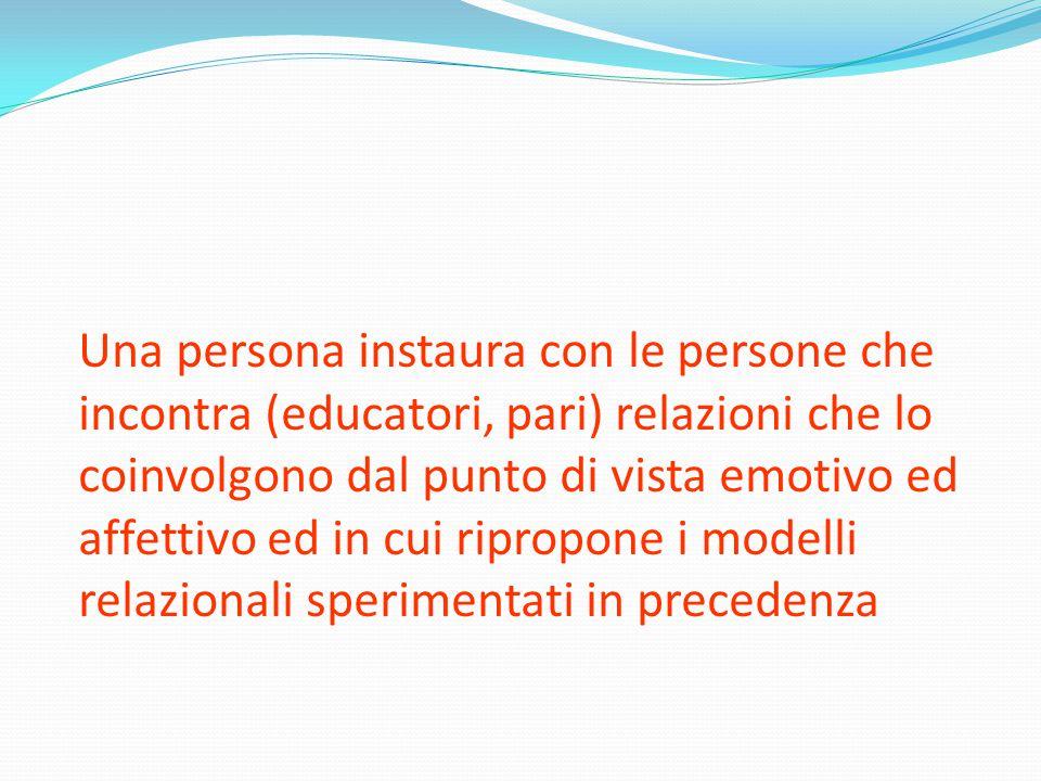 Una persona instaura con le persone che incontra (educatori, pari) relazioni che lo coinvolgono dal punto di vista emotivo ed affettivo ed in cui ripr