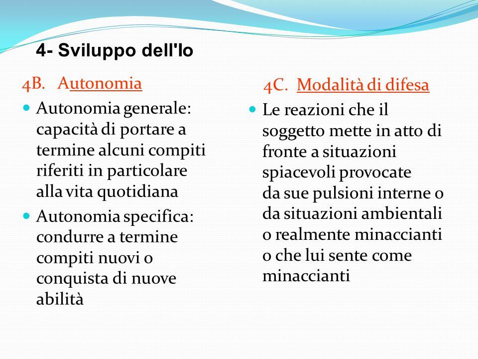 4- Sviluppo dell'Io 4B. Autonomia Autonomia generale: capacità di portare a termine alcuni compiti riferiti in particolare alla vita quotidiana Autono