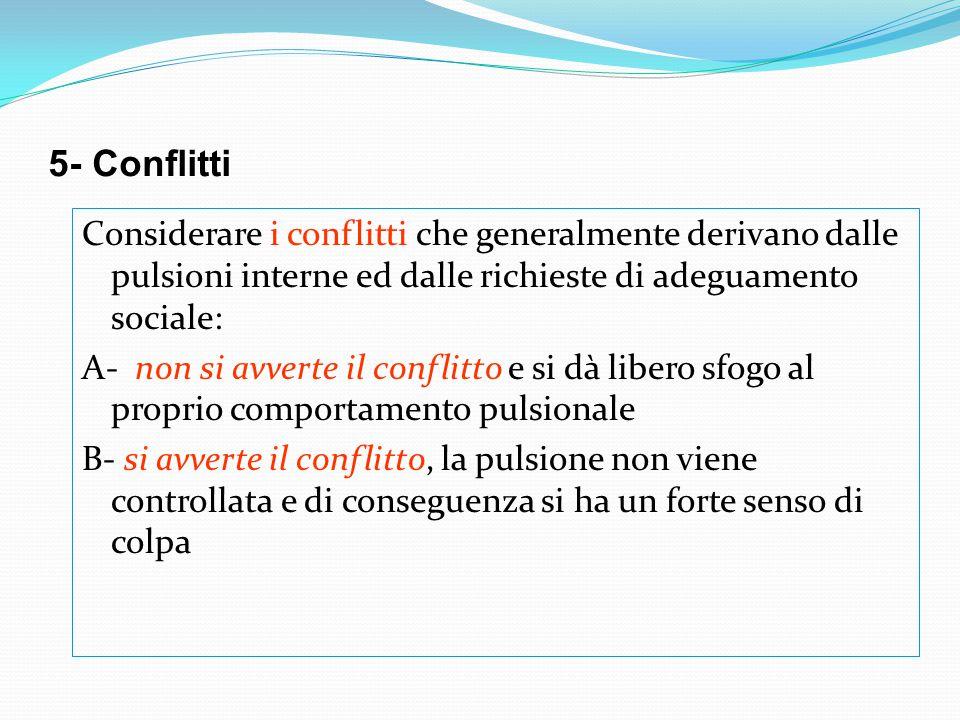 5- Conflitti Considerare i conflitti che generalmente derivano dalle pulsioni interne ed dalle richieste di adeguamento sociale: A- non si avverte il