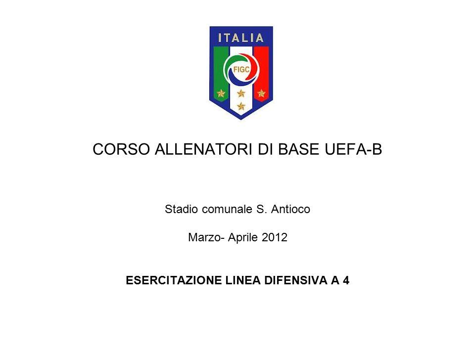 CORSO ALLENATORI DI BASE UEFA-B Stadio comunale S. Antioco Marzo- Aprile 2012 ESERCITAZIONE LINEA DIFENSIVA A 4