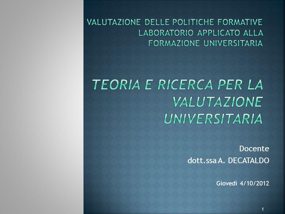 Docente dott.ssa A. DECATALDO Giovedì 4/10/2012 1