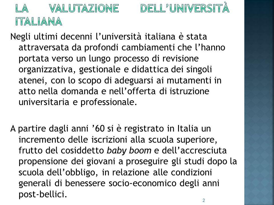 Negli ultimi decenni l'università italiana è stata attraversata da profondi cambiamenti che l'hanno portata verso un lungo processo di revisione organizzativa, gestionale e didattica dei singoli atenei, con lo scopo di adeguarsi ai mutamenti in atto nella domanda e nell'offerta di istruzione universitaria e professionale.
