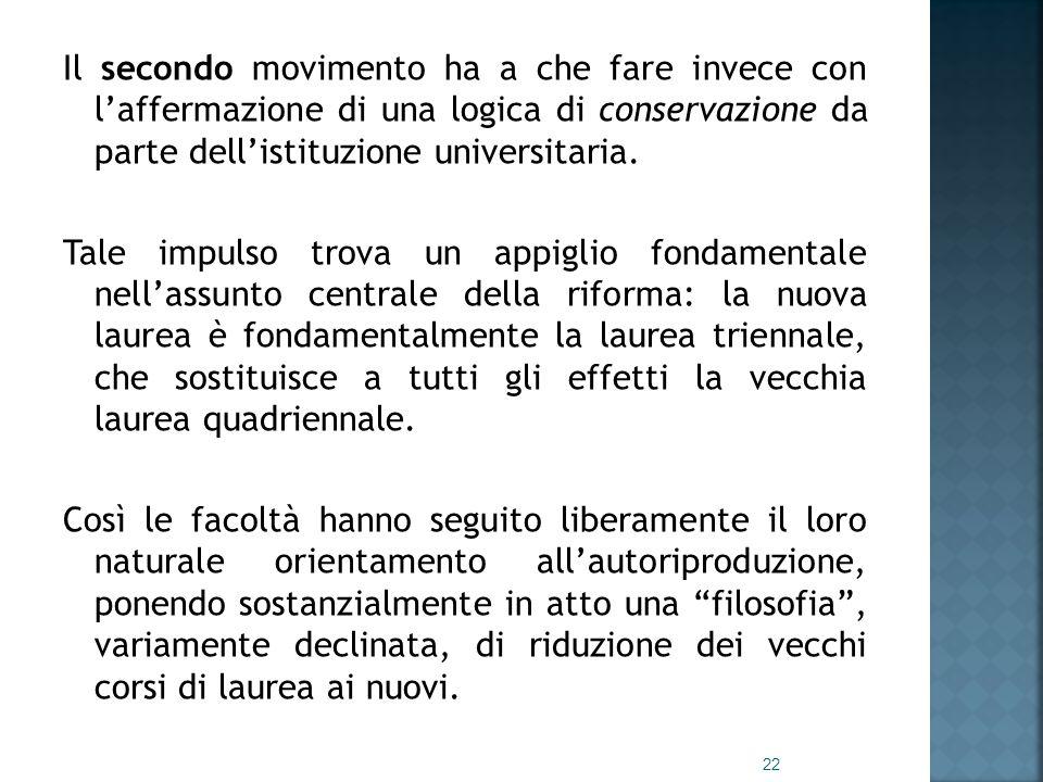 Il secondo movimento ha a che fare invece con l'affermazione di una logica di conservazione da parte dell'istituzione universitaria.