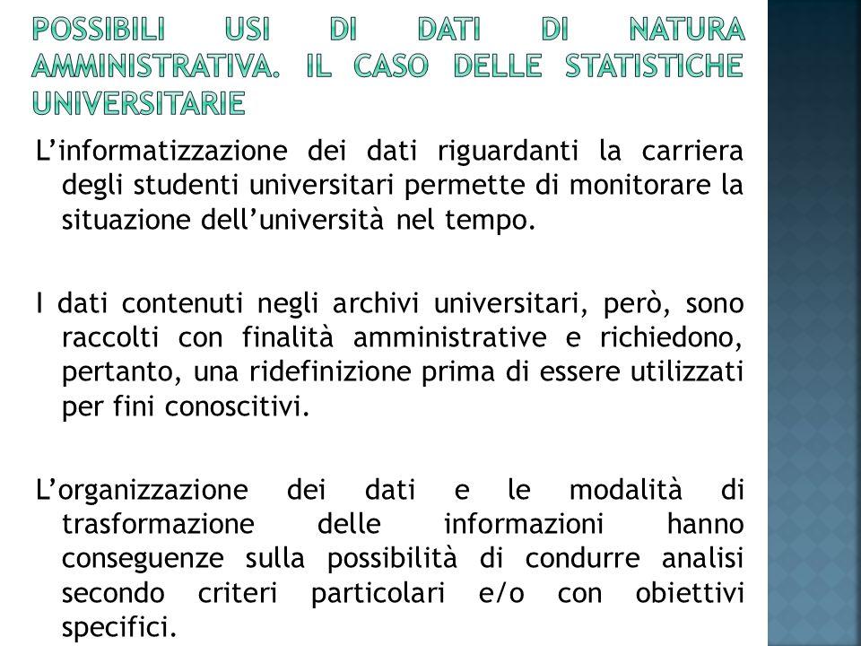 L'informatizzazione dei dati riguardanti la carriera degli studenti universitari permette di monitorare la situazione dell'università nel tempo.