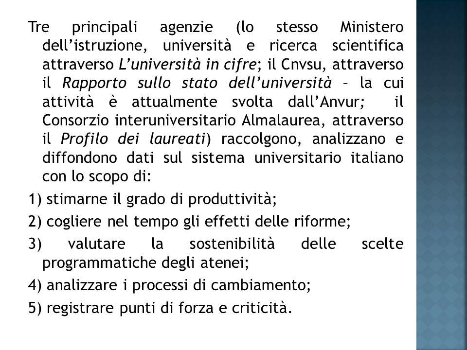 Tre principali agenzie (lo stesso Ministero dell'istruzione, università e ricerca scientifica attraverso L'università in cifre; il Cnvsu, attraverso il Rapporto sullo stato dell'università – la cui attività è attualmente svolta dall'Anvur; il Consorzio interuniversitario Almalaurea, attraverso il Profilo dei laureati) raccolgono, analizzano e diffondono dati sul sistema universitario italiano con lo scopo di: 1) stimarne il grado di produttività; 2) cogliere nel tempo gli effetti delle riforme; 3) valutare la sostenibilità delle scelte programmatiche degli atenei; 4) analizzare i processi di cambiamento; 5) registrare punti di forza e criticità.