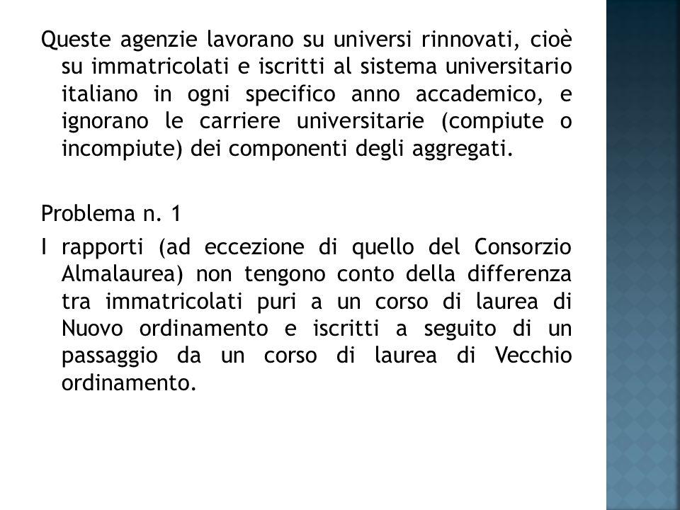 Queste agenzie lavorano su universi rinnovati, cioè su immatricolati e iscritti al sistema universitario italiano in ogni specifico anno accademico, e ignorano le carriere universitarie (compiute o incompiute) dei componenti degli aggregati.