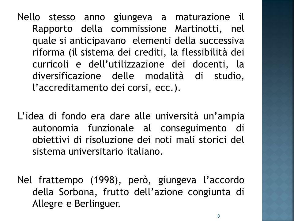 Nello stesso anno giungeva a maturazione il Rapporto della commissione Martinotti, nel quale si anticipavano elementi della successiva riforma (il sistema dei crediti, la flessibilità dei curricoli e dell'utilizzazione dei docenti, la diversificazione delle modalità di studio, l'accreditamento dei corsi, ecc.).