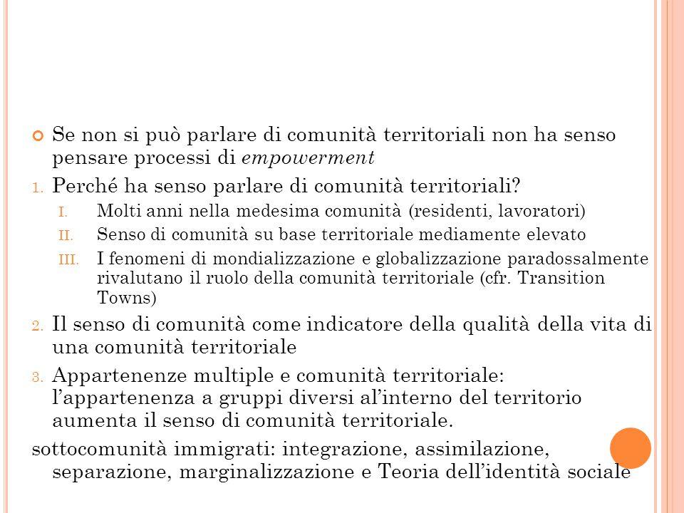 Se non si può parlare di comunità territoriali non ha senso pensare processi di empowerment 1. Perché ha senso parlare di comunità territoriali? I. Mo