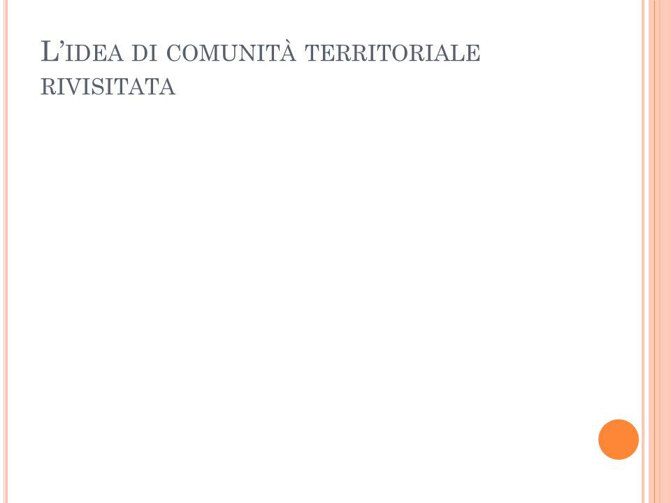L' IDEA DI COMUNITÀ TERRITORIALE RIVISITATA