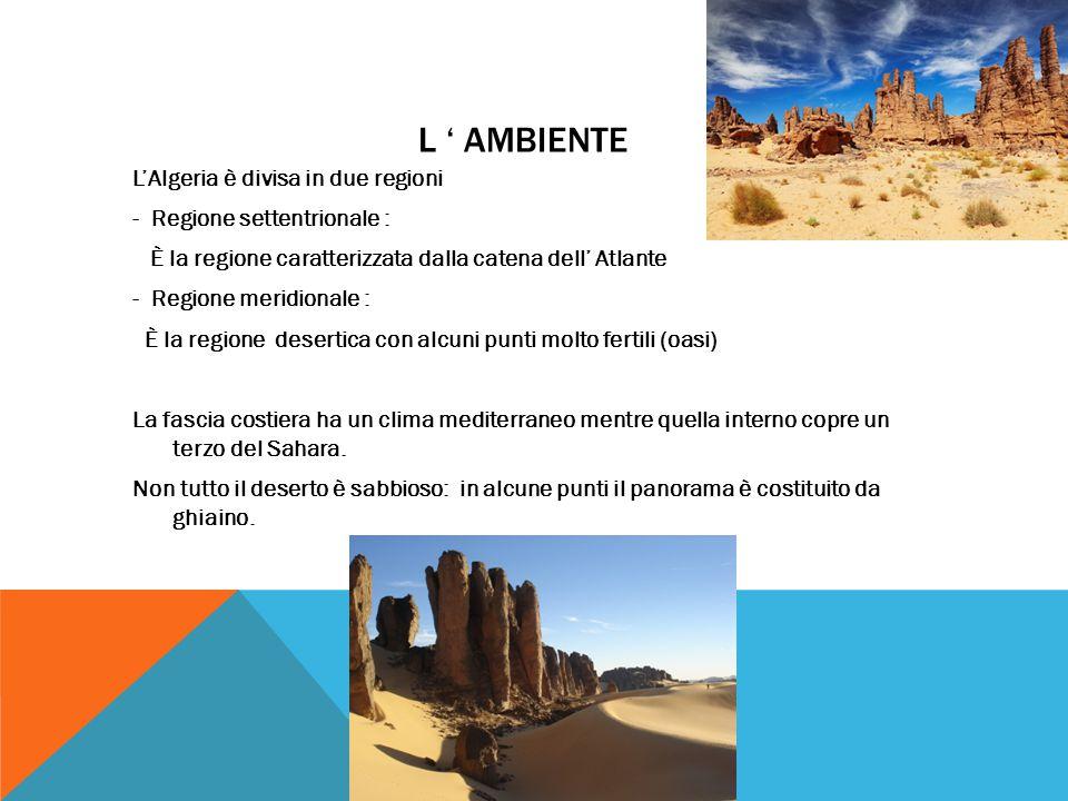 L ' AMBIENTE L'Algeria è divisa in due regioni - Regione settentrionale : È la regione caratterizzata dalla catena dell' Atlante - Regione meridionale : È la regione desertica con alcuni punti molto fertili (oasi) La fascia costiera ha un clima mediterraneo mentre quella interno copre un terzo del Sahara.